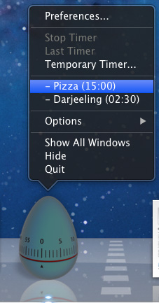 screenshot DockTimer dock menu open